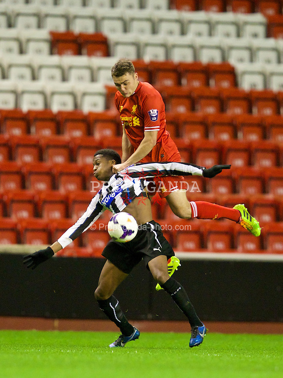 LIVERPOOL, ENGLAND - Friday, March 21, 2014: Liverpool's Connor Randall in action against Newcastle United during the Under 21 FA Premier League match at Anfield. (Pic by David Rawcliffe/Propaganda)