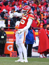Jan 19, 2020; Kansas City, Missouri, USA; Kansas City Chiefs defensive end Frank Clark (55) celebrates before a play during the AFC Championship Game against the Tennessee Titans at Arrowhead Stadium. Mandatory Credit: Denny Medley-USA TODAY Sports