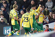 Norwich City striker (on loan from Sheffield Wednesday) Jordan Rhodes (11)  scores a goal and celebrates  with The Norwich City players  during the EFL Sky Bet Championship match between West Bromwich Albion and Norwich City at The Hawthorns, West Bromwich, England on 12 January 2019.