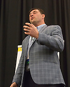 Adam Rapp, a faculty member in the College of Business, gives a speech during the College of Business Center for Leadership Event in Baker Ballroom on April 24, 2016.