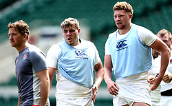 Jack Singleton and Nick Isiekwe of England takes part in training at Twickenham ahead of the upcoming tour of Argentina - Mandatory by-line: Robbie Stephenson/JMP - 02/06/2017 - RUGBY - Twickenham - London, England - England Rugby Training