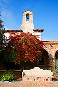 Bougainvillea at the North Corridor of the Historic Mission San Juan Capistrano, Orange County, California