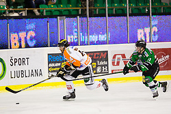 06.01.2015, Hala Tivoli, Ljubljana, SLO, EBEL, HDD Telemach Olimpija vs Moser Medical Graz 99ers, 36. Runde, in picture Luke Walker (Moser Medical Graz 99ers, #14) and Aljaz Uduc (HDD Telemach Olimpija, #41) during the Erste Bank Icehockey League 36. Round between HDD Telemach Olimpija and Moser Medical Graz 99ers at the Hala Tivoli, Ljubljana, Slovenia on 2015/01/06. Photo by Matic Klansek Velej / Sportida