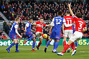 Middlesbrough defender Dael Fry (20) attempts a shot during the EFL Sky Bet Championship match between Middlesbrough and Ipswich Town at the Riverside Stadium, Middlesbrough, England on 29 December 2018.