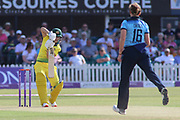 Nicole Bolton of Australia (12) is out caught behind during the Royal London Women's One Day International match between England Women Cricket and Australia at the Fischer County Ground, Grace Road, Leicester, United Kingdom on 4 July 2019.