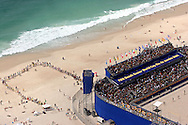 Football - FIFA Beach Soccer World Cup 2006 - Group A - BRA X JPN - Rio de Janeiro - Brazil 05/11/2006<br />Lines of Brazilian  fans waiting at the entrance of the Beach Soccer stadium  Event Title Board Mandatory Credit: FIFA / Ricardo Moraes