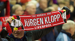 LIVERPOOL, ENGLAND - Thursday, November 26, 2015: A Liverpool supporter with a Jürgen Klopp scarf before the UEFA Europa League Group Stage Group B match against FC Girondins de Bordeaux at Anfield. (Pic by David Rawcliffe/Propaganda)