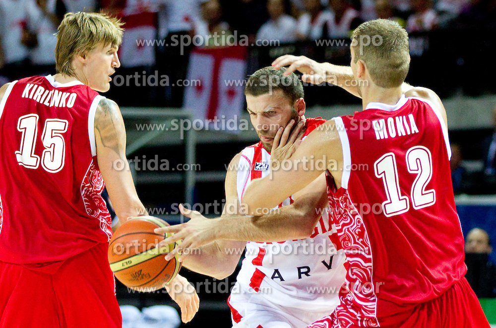 Manuchar Markoishvili of Georgia vs Sergey Monya of Russia during basketball match between National teams of Georgia and Russia in Group D of Preliminary Round of Eurobasket Lithuania 2011, on September 1, 2011, in Arena Svyturio, Klaipeda, Lithuania. (Photo by Vid Ponikvar / Sportida)