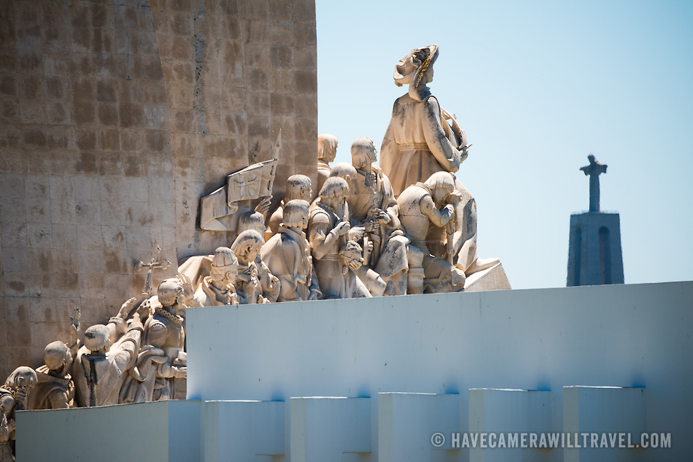 LISBON, Portugal - In the foreground is part of the Padrão dos Descobrimentos (Monument to the Discoveries), while in the background is the Cristo Rei on the opposite side of the Tagus River.
