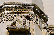 Detail on the Fourvière Basilica in old town Vieux Lyon, France (UNESCO World Heritage Site)