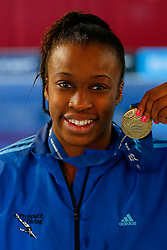 Rhea Gayle of Plymouth Diving poses with her Gold Medal after winning the Womens 1m Synchronised Springboard Final - Photo mandatory by-line: Rogan Thomson/JMP - 07966 386802 - 20/02/2015 - SPORT - DIVING - Plymouth Life Centre, England - Day 1 - British Gas Diving Championships 2015.