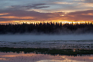 A colorful sunrise lights the sky near Yellowstone's Pelican Creek.