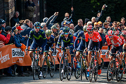 Peloton with VALVERDE Alejandro of Movistar Team during 1st lap on local circuit, UCI Men WorldTour 81st La Flèche Wallonne at Huy Belgium, 19 April 2017. Photo by Pim Nijland / PelotonPhotos.com | All photos usage must carry mandatory copyright credit (Peloton Photos | Pim Nijland)