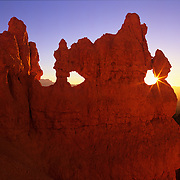 The Mask, one of the most recognizable hoodoos in Bryce Canyon National Park, glows in the early morning light. Utah.