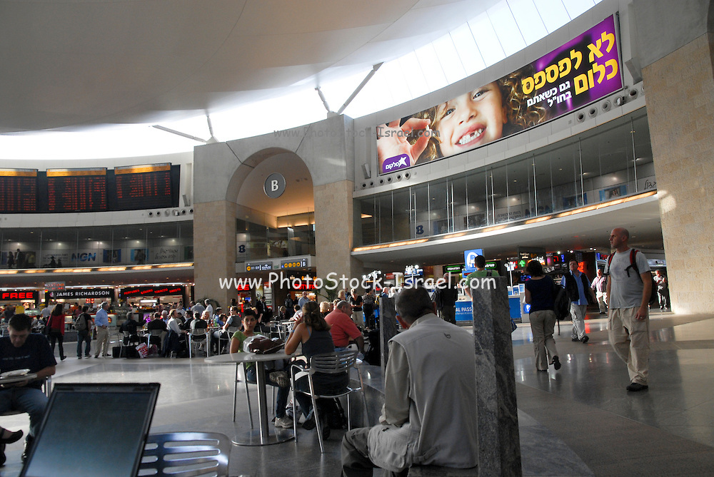 Israel, Ben Gurion International Airport, Passengers awaiting their flight in the departure lounge