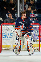 KELOWNA, CANADA - DECEMBER 29:  Dylan Ferguson #31 of the Kamloops Blazers stands in net awaiting his helmet from the bench against the Kelowna Rockets on December 29, 2018 at Prospera Place in Kelowna, British Columbia, Canada.  (Photo by Marissa Baecker/Shoot the Breeze)