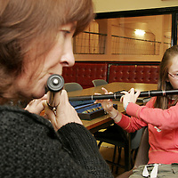 Catherine McEvoy and Savannah Donoghue enjoy playing a few tunes together during the Cooley-Collins traditional music festival in Gort at the weekend.<br />