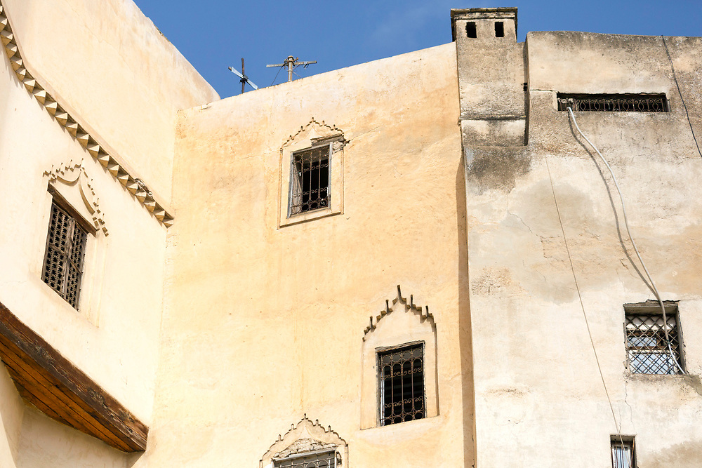FEZ, MOROCCO 1st FEBRUARY 2018 - Window shutter architecture and wall texture, old Fez Medina, Middle Atlas Mountains, Morocco.
