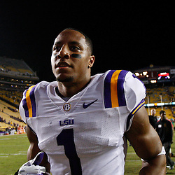 November 10, 2012; Baton Rouge, LA, USA;  LSU Tigers safety Eric Reid (1) runs off the field following a game against the Mississippi State Bulldogs at Tiger Stadium.  LSU defeated Mississippi State 37-17. Mandatory Credit: Derick E. Hingle-US PRESSWIRE