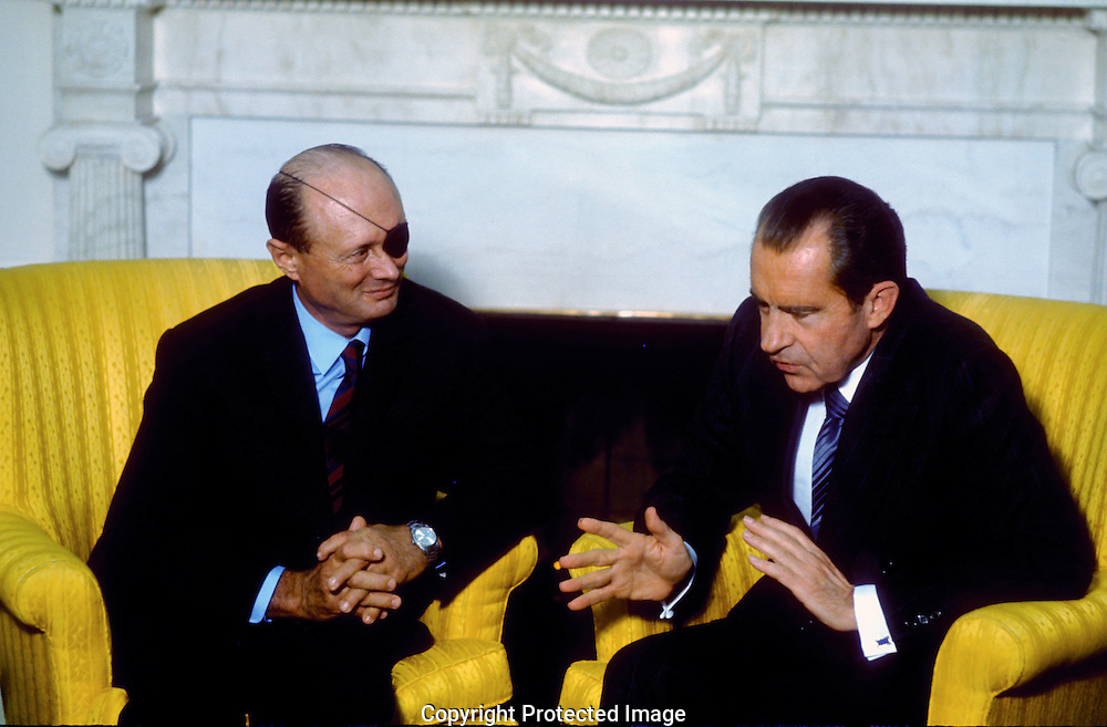 .President Nixon meets with Moshe Dayan in the Oval Office in February 1971.Photograph by Dennis Brack  BS B 15