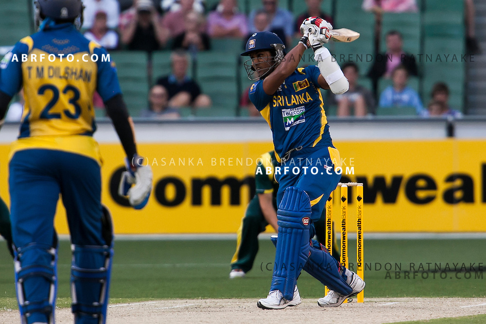 Dinesh Chandimal batting. ONE DAY INTERNATIONAL AUSTRALIA V SRI LANKA - 11th JANUARY 2013. Action from game 1 of the Commonwealth Bank Series Australia v Sri Lanka played at the Melbourne Cricket Ground in Melbourne,Victoria, Australia. Photo Asanka Brendon Ratnayake SMP Images.
