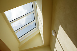 Skylight maximising use of heat and light from the sun at Eco House at The Wintles; Bishop's Castle,