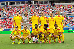 CHARLOTTE, USA - Saturday, August 2, 2014: Liverpool players line up for a team group photograph before the International Champions Cup Group B match against AC Milan at the Bank of America Stadium on day thirteen of the club's USA Tour. Back row L-R: Sebastian Coates, goalkeeper Simon Mignolet, Emre Can, Jordan Henderson, Lucas Leiva, Rickie Lambert. Front row L-R: Jack Robinson, Joe Allen, Kolo Toure, Raheem Sterling, Jordon Ibe. (Pic by Mark Davison/Propaganda)