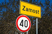 Speed limit and town sign, Zamost, Croatia