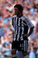 Photo. Glyn Thomas, Digitalsport<br /> NORWAY ONLY<br /> <br /> Manchester City v Newcastle United. <br /> FA Barclaycard Premiership. 01/05/2004.<br /> Newcastle's Hugo Viana contemplates his side's disappointing 1-0 defeat.