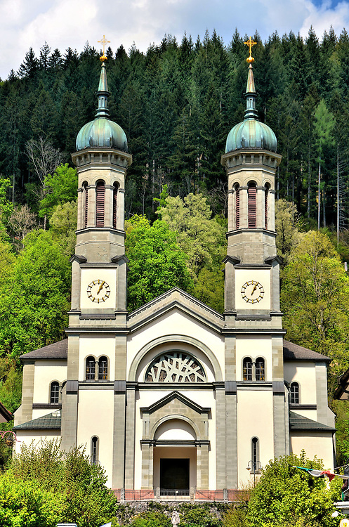 St. John the Baptist Church Among Lush Forest in Todtnau, Germany <br />