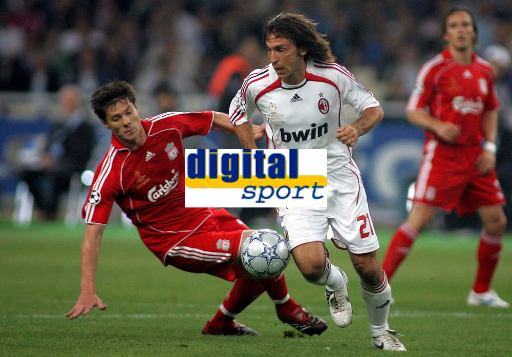 Photo: Paul Thomas.<br /> AC Milan v Liverpool. UEFA Champions League Final. 23/05/2007.<br /> <br /> Andre Pirlo (R) of Milano gets past Xabi Alonso.