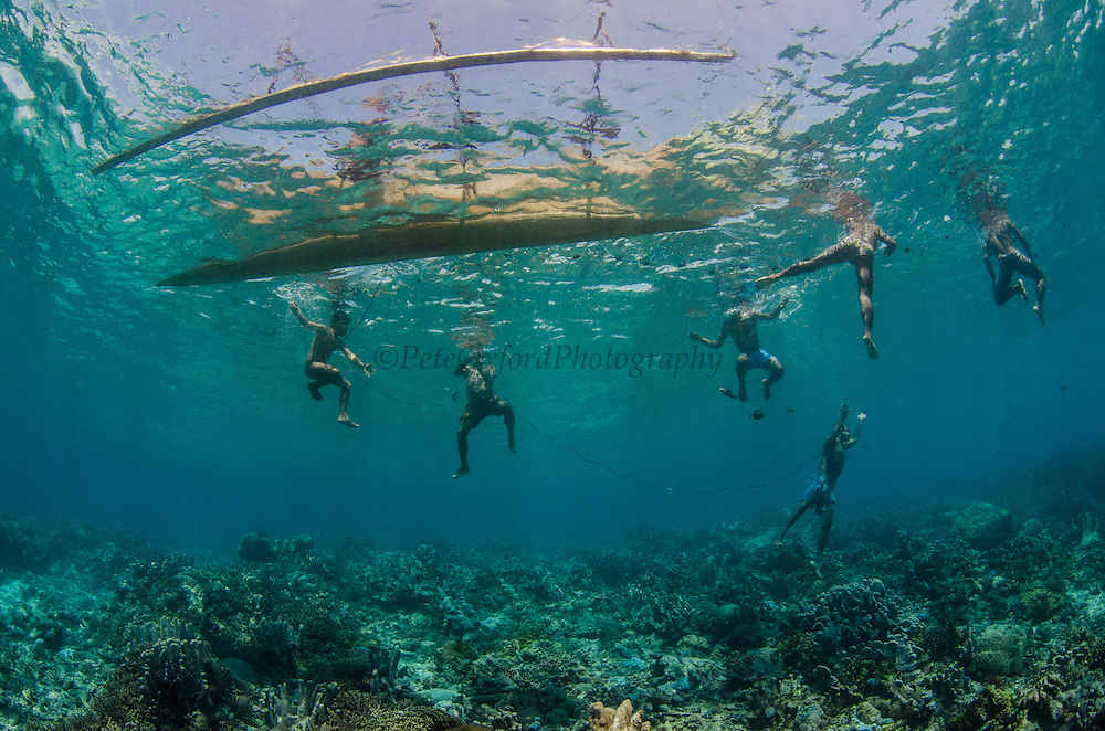 Local Papuan Net fishermen<br /> Half Island<br /> Cenderawasih Bay<br /> West Papua<br /> Indonesia<br /> Using spear, nets, poison and outrigger canoe