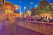 The Grove Shopping Complex, Los Angeles, CA, Twilight, Blue Light, Magic Hour, Long Exposure, People Moving
