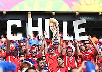 Fans of Chile hold up a sign supporting their team