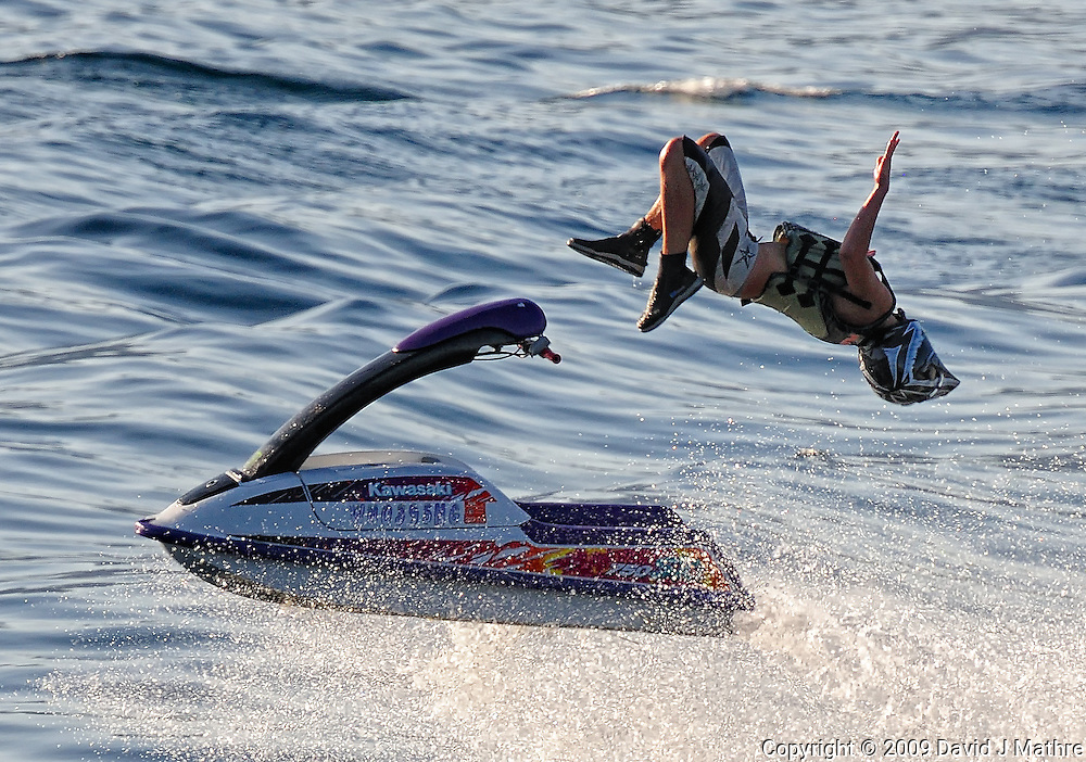"""Losing It. Jet Skier on Lake Chelan from the rear of """"The Lady of the Lake II. Image taken with a Nikon D3x and 80-400 mm VR lens (ISO 400, 300 mm, f/10, 1/1000 sec)."""