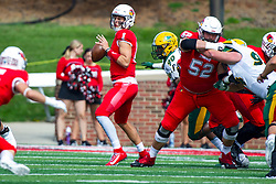 NORMAL, IL - October 05: Tony Pierce looks to blindside Brady Davis with Adam Solomon blocking Costner Ching during a college football game between the ISU (Illinois State University) Redbirds and the North Dakota State Bison on October 05 2019 at Hancock Stadium in Normal, IL. (Photo by Alan Look)