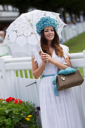 Repro Free: 08/08/2013<br /> Stacy Caldwell from Co. Down winner of the 'Highly Commended Outfit' at Blossom Hill Ladies' Day during the Discover Ireland Dublin Horse Show at the RDS. Stacy's outfit cost her &pound;10 in the charity shops around Banbridge.  Picture Andres Poveda