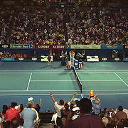 Rafael Nadal falls to the ground as he defeats Roger Federer to win the  Men's Singles Final at the Australian Tennis Open on February 1, 2009 in Melbourne, Australia. Photo Tim Clayton    .