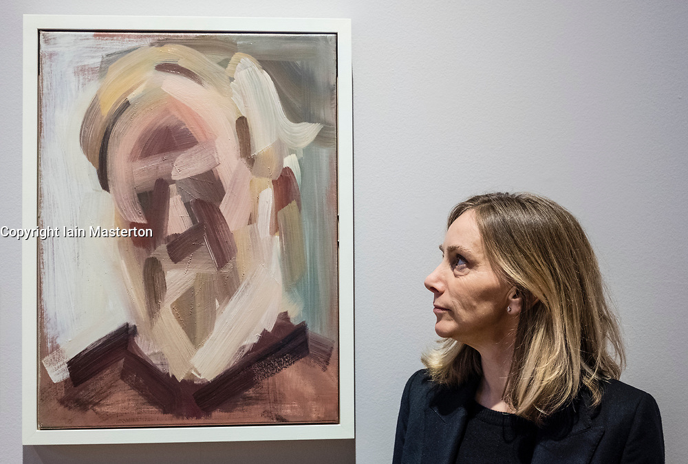 Edinburgh, Scotland, United Kingdom. 14 December, 2017. <br /> <br /> Lucy Stopford and her painting Portrait of Dr Tim Moreton at The BP Portrait Award 2017  which opens at the Scottish National Portrait Gallery on 16 December 2017.