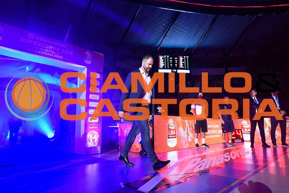 BRESCIA 29 SETTEMBRE 2018<br /> BASKET SUPERCOPPA 2018<br /> AX ARMANI EXCHANGE MILANO - GERMANI BASKET BRESCIA<br /> NELLA FOTO ingresso squadre<br /> FOTO CIAMILLO