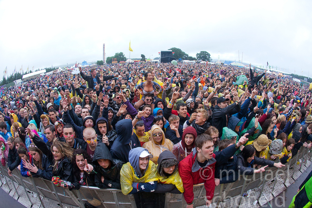 The crowd as The Courteeners play the Radio 1/NME stage. Saturday, at T in the Park 2012, held at Balado, in Fife, Scotland..