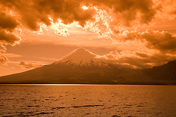 Chile, Lake Country: View of Osorno Volcano while riding across Lake Todos Los Santos..Photo #: ch635-33992..Photo copyright Lee Foster www.fostertravel.com, lee@fostertravel.com, 510-549-2202.