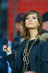 MOSCOW, RUSSIA - Wednesday, May 21, 2008: A female Russian fan takes a photo during the UEFA Champions League Final at the Luzhniki Stadium. (Photo by David Rawcliffe/Propaganda)