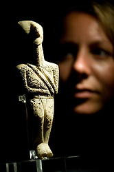 © licensed to London News Pictures.  28/06/2011. London, UK. A rare  marble Cycladic figurine of a male 'hunter 'worrior' type from the 3rd millenium BC , on display at the British Museum today (28/06/2011). Male figurines are extremely rare.  Part of the launch of the British Museum annual review. Highlights include the newly acquired 3,000 year old Nimrud Ivories, the largest acquisition by the museum since the Second World War, excavated from Nimrud in modern day Iraq in the mid-20th century. See special instructions. Photo credit should read: Ben Cawthra/LNP