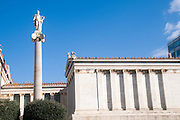 Statue of Apollo at the Academy of Athens, part of the architectural trilogy designed by Danish architect Theopil Hansen, Athens, Greece