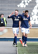 Lee Gregory celebrates his goal during the Sky Bet Championship match between Millwall and Derby County at The Den, London, England on 25 April 2015. Photo by David Charbit.