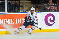 KELOWNA, BC - MARCH 09: Jermaine Loewen #32 of the Kamloops Blazers stops on the ice against the Kelowna Rockets at Prospera Place on March 9, 2019 in Kelowna, Canada. (Photo by Marissa Baecker/Getty Images)
