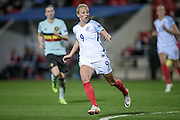 Toni Duggan (England) watches as the Belgium keeper clears the ball during the Euro 2017 qualifier between England Ladies and Belgium Ladies at the New York Stadium, Rotherham, England on 8 April 2016. Photo by Mark P Doherty.