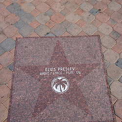 Elvis Presley's star on the Palm Spring Walk of Fame.  Palm Spring, California.