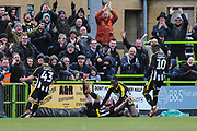 Notts County James O'Brien scores a goal 0-1 and celebrates during the EFL Sky Bet League 2 match between Forest Green Rovers and Notts County at the New Lawn, Forest Green, United Kingdom on 9 February 2019.